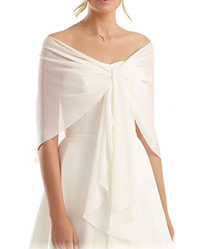 Madedress Chiffon Braut Hochzeit Capes Wraps Frauen Abendkleid Stola Brautjungfer Schals Braut Wraps (One-Size, Ivory 1)