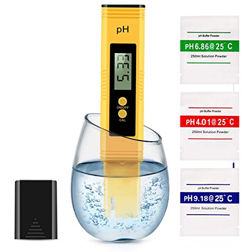 Digital PH Meter, PH Meter 0.01 Resolution Pocket Size Water Quality Tester with ATC 0-14 pH Measurement Range for Household Drinking Water, Aquarium, Swimming Pools, Hydroponics(Yellow)
