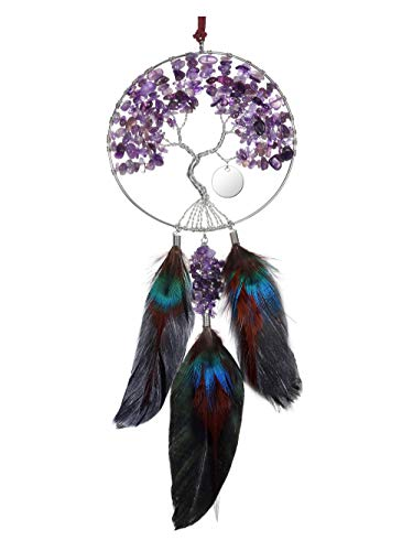 CrystalTears Amethyst Tree of Life Crystal Hanging Ornament Handmade Car Feather Dream Catcher Wall Hanging for Good Luck Meditation Home Car Decoration