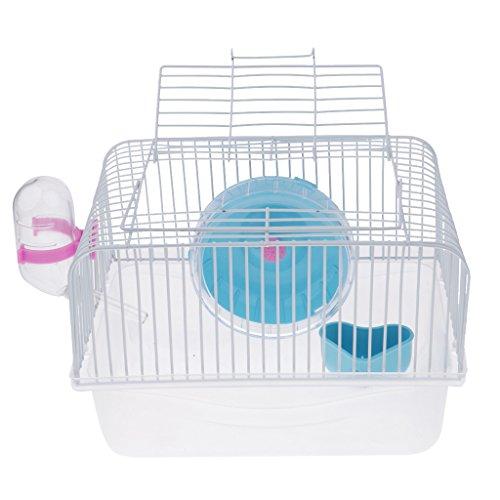 Sharplace Tragbar Hamsterkäfig Mäusekäfig Nagerkäfig mit Trinkflasche und Futterschüssel für Hamster, Ratten, Mäuse, Igel, Meerschweinchen - Blau