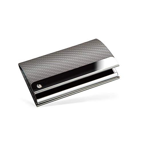 Preisvergleich Produktbild BRODI® Premium Visitenkarten-Etuis für eine besonders schonende Aufbewahrung - Hochwertiges Kartenetui aus Edelstahl mit Magnetverschluss / inkl. Geschenkbox I Visitenkartenhülle Leder (Grau)