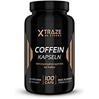 Cafeina capsulas 200mg de dosis alta - 100 cápsulas - De calidad, hechas en Alemania - Sin aditivos innecesarios - Cafeína pura