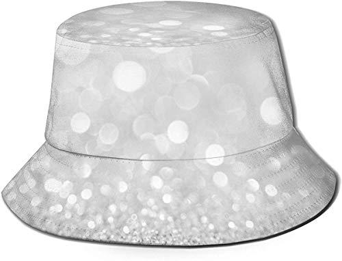 BONRI Sombreros de Cubo Transpirables de Parte Superior Plana Unisex Lobo Familia Sketch Sombrero de Cubo Verano Sombrero de Pescador-Blanco Plateado Brillo-Talla única