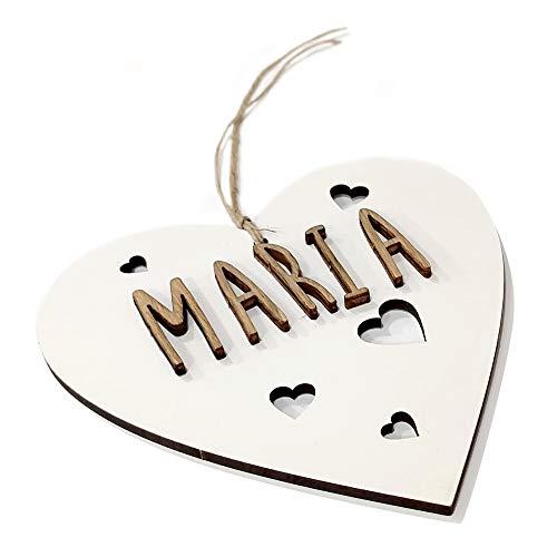 Corazón de Madera Personalizado con Nombre. Regalos de Madera Personalizados. Decoración Personalizada con Nombre.