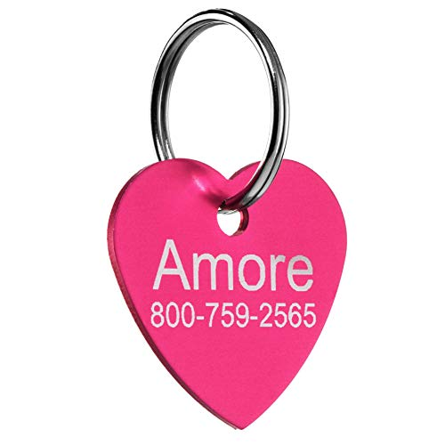 Providence Engraving Custom Heart-Shaped Pet ID Tag - Small or Large Personalized Heart-Shaped Aluminum Dog Tag or Cat Tag with Up to 4 Lines of Text and Available in 9 Colors