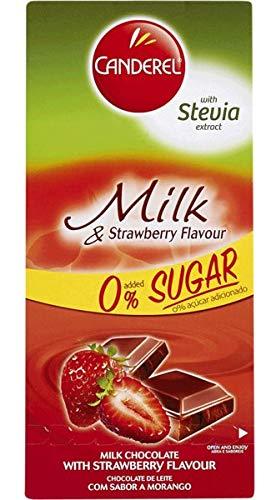 CANDEREL Chocolate/Cioccolato (Senza zucchero - adatto per i diabetici) - Milk Chocolate and Strawberry/Cioccolato al latte con fragole - 100gr x 6 bar * CON ESTRATTO DI STEVIA