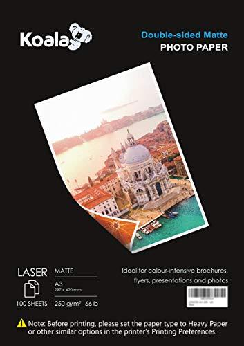 KOALA Fotopapier für Laserdrucker, Doppelseitig, Matt, A3, 250 g/m², 100 Blatt. Geeignet zum Drucken von Fotos, Zertifikaten, Broschüren, Flyern, Faltblättern, Grußkarten, Kalendern, Kunst