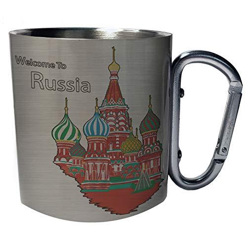 Willkommen in Moskau Russland Russisch Edelstahl Karabiner Reisebecher 11oz Becher Tasse g925c