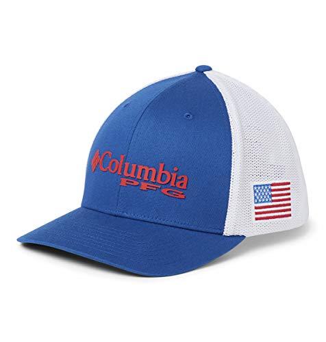 Columbia PFG Mesh Ball Cap, Mountain Blue/US Flag, Large/X-Large