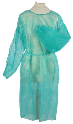 Lot de 100 blouses médicales jetables à usage unique taille unique 120 x 140 cm de qualité Tiga-Med (Vert)
