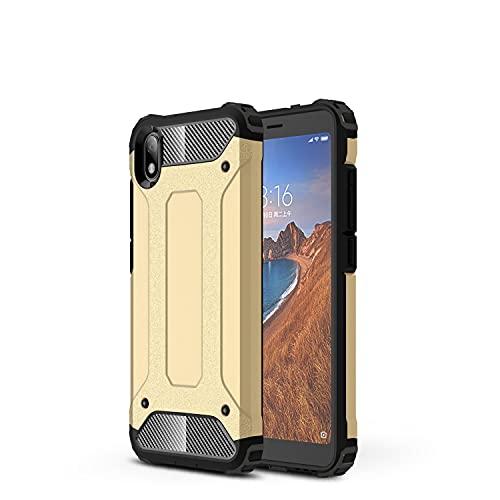 JIAHENG Caja del teléfono Estuche Protector para Xiaomi Redmi 7A Case, TPU + PC Parachoques Dual Layer Hybrid Protector Hybrid Caja Resa Cubierta de Cuero (Color : Gold)
