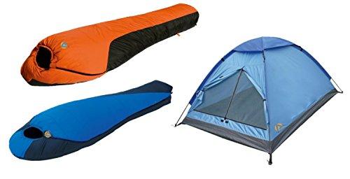 Alpinizmo High Peak USA Extreme Pak 0F & Mt. Rainier Schlafsäcke 3 Herren Zelt Combo Set, Blau/Orange, One Size