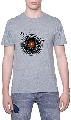 Encantador Vinilo Registros Naturaleza Estilo Camiseta De Los Hombres Manga Corta Gris T-Shirt Men Grey tee XXL