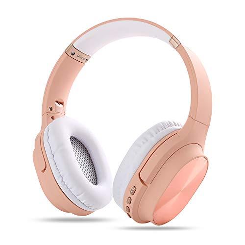 RYRA Auriculares inalámbricos Bluetooth 5.0, GS-H8 plegables con micrófono, Hi-Fi Stereo Soft Memory Protein Earpuffs para el hogar, oficina en línea, soporte para tarjeta TF rosa