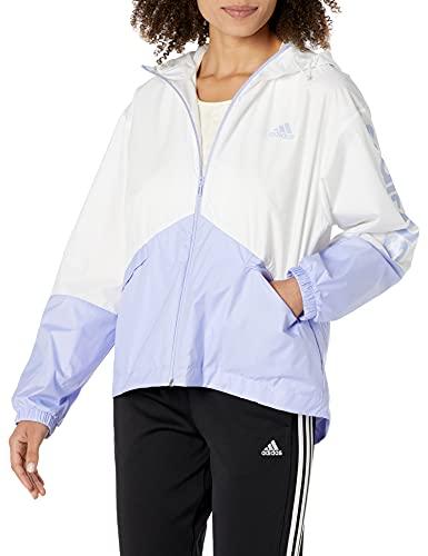 adidas Women's Standard Essentials Oversize Logo Windbreaker, White/Violet Tone, Large