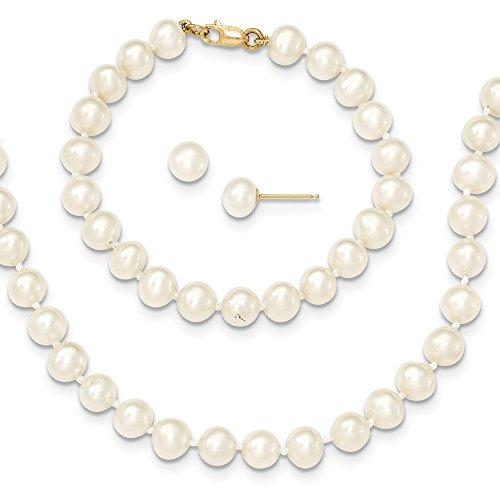 Bella oro giallo 14K 14K 5–6mm FW Pearl 5in bracciale, 14in set Comes with a free Gift gioielli collana e orecchini