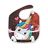 Babero unisex con diseño de unicornio, diseño de nebulosa espacial, lavable,...