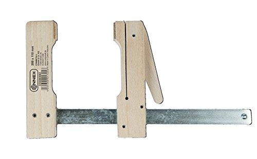 Connex COX863002 Holzklemmzwinge, Rotbuche, Stahlschiene, stufenlos verstellbar, Spannweite 200 mm, Ausladung 110 mm