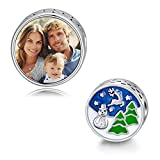 LONAGO Merry Christmas Photo Charm Sterling Silver Personalized Picture Charm Fit Pandora Bracelet Necklace Customized Image Bead Gifts for Women (Snowman & Reindeer)