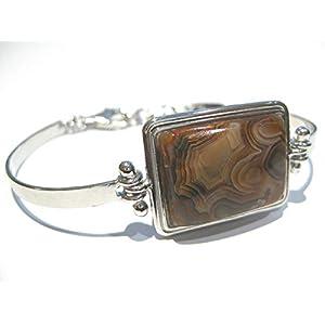 Crazy Lace Agate 925 Silver Bracelet