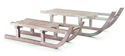 small foot Deko-Schlitten aus Holz, 2er Set Dekofigur, Natur, 60 x 19 x 18 cm