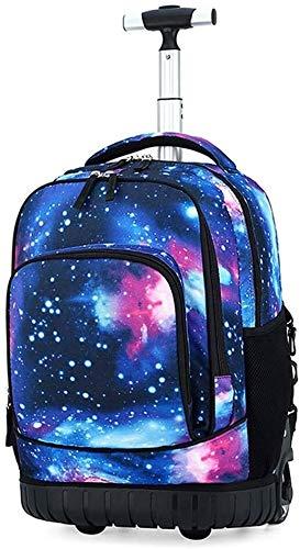 GQY Creativa de la Carretilla - Moda Maleta Maleta con Ruedas Estudiante Mochila Mochila Ordenador (Color : Starry Sky, Size : Moyen)