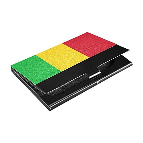Portatarjetas de acero inoxidable con bandera de Malí, titular de la tarjeta de crédito de cuero sintético, para hombres y mujeres (p