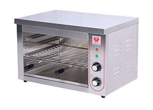 Beeketal 'BSP-2' Profi Gastro Salamander Grill Überbackgerät aus Edelstahl mit 1 Gitter (4 Höhen), 5-30 Minuten Timer, Thermostat 50-300 °C (direkt an der Heizspirale), extra Krümelschublade