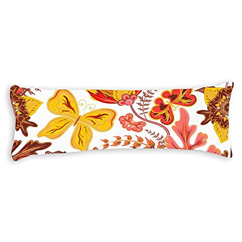 CiCiDi Side Sleeper Pillow Cover 50x150 cm Seamless Hand Draw Butterfly with Floral Pattern Vector Image Breathable Cushion Covers with Zip Cotton and Polyester