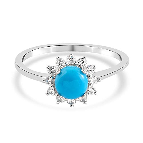 TJC Sleeping Beauty Turquoise and Zircon Floral Ring for Womens in Platinum Plated 925 Sterling Silver Jewellery for Nature Lover Size M Blue Coloured December Birthstone, TCW 0.98ct