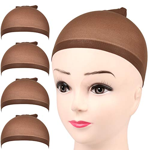 FANDAMEI 4 pieces Dark Brown Stocking Wig Caps Stretchy Nylon Wig Caps for Women