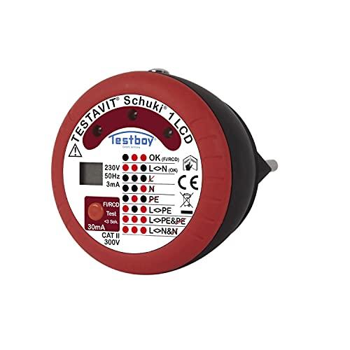 Testavit Schuki 1 LCD Steckdosenprüfgerät mit FI-Test und Fingerkontakt zur Überprüfung des Schutzsleiteranschlusses (LED-Anzeige, sichere Überprüfung), Rot/Schwarz