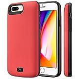 Fey-EU Coque Batterie pour iPhone 6 Plus/ 6s Plus/ 7 Plus/ 8 Plus [5.5 Pouces] 8000mAh Portable Rechargeable Externe Chargeur Batterie Cas Power Bank Protective Étui, Rouge [Garantie de 24 mois]
