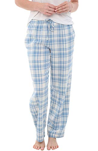 Alexander Del Rossa Women's Flannel Pajama Pants, Long Cotton Pj Bottoms, Medium Blue and Cream Plaid (A0702W17MD)