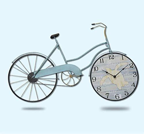 Reloj de pared de hierro forjado industrial vintage para decoración de pared, sala de estar, dormitorio, decoración de bicicleta, manualidades (tamaño 83,5 x 51 cm)