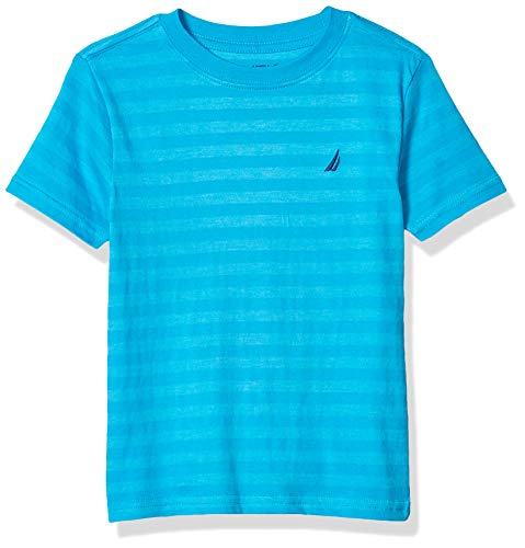 Nautica Boys' Short Sleeve Striped Crew Neck T-Shirt, Ocean, Medium (10/12)
