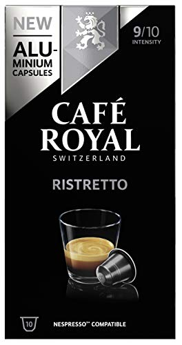 Café Royal Ristretto 100 Nespresso®* kompatible Kapseln (aus Aluminium, Intensität 9/10) 10er Pack (10 x 10 Kaffeekapseln)