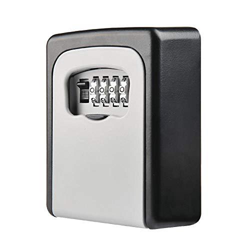 JulySeeYouz Key Box Schloss, Kombinationsschlüsselkasten Schlüsseltresor Wand Befestigter Verschluss-Kasten-4-Stellige Kombination Key Storage Lock-Box Für Heim