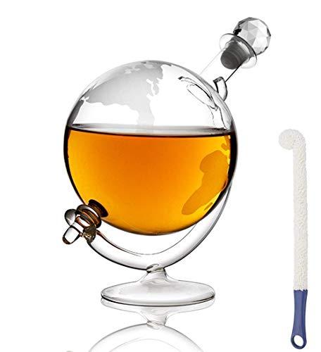 MFLASMF Jarra de Whisky de Vidrio con Base y tapón, Jarra de Whisky de diseño Vintage Mundial Ron, Brandy y Licor