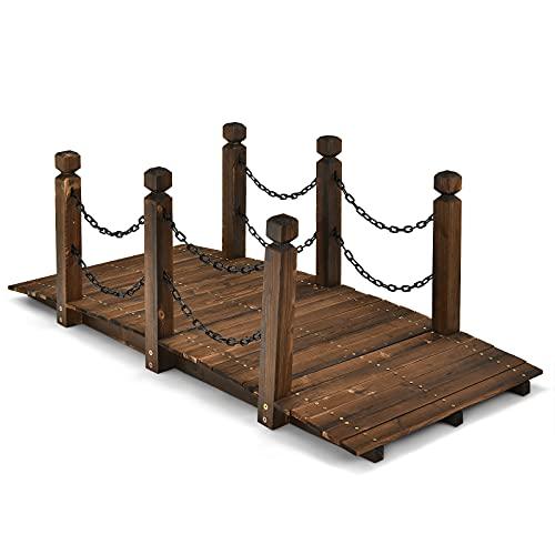 COSTWAY Holzbrücke mit Geländer, Gartenbrücke Teichbrücke, Zierbrücke belastbar bis 120kg, Dekobrücke für Garten, Teich, Bach, Bauernhof 151x67x55 cm