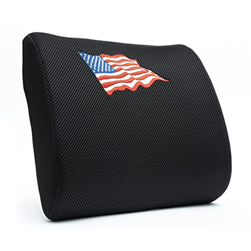 PULOTIF Lumbar Support Pillow for Chair - Ergonomic Memory Foam Cushion Provides Lower Back Pain Relief for Office, Home or Car (American Flag Embroidery)