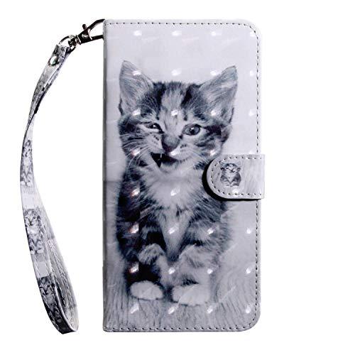 vingarshern Hülle für LG K5 Schutzhülle Tasche Etui Klappbares Magnetverschluss Flip Hülle Lederhülle Handytasche LG K5 Hülle Leder Brieftasche(Katze) MEHRWEG