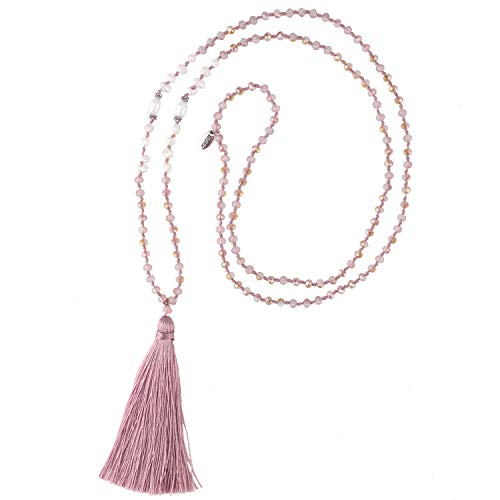 KELITCH New Long Tassel Strands Necklace Pearl Crystal Beaded Necklace Handmade Bib Shining Y-Shape Necklace (Pink A)