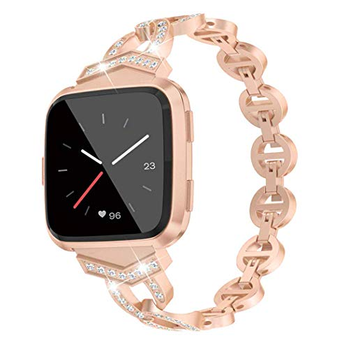 Amocase Compatible for Fitbit Versa/Versa 2 /Versa Lite/Versa Special Edition Glitter Bands for Women Dressy Accessories Stainless Steel Metal Diamond Bands Strap Bracelet for Fitbit Versa,Rose Gold