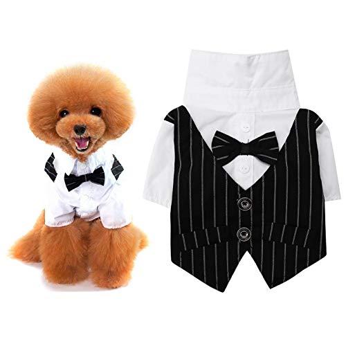 KUIDAMOS Camisa para Perro, Cachorro, Mascota, Ropa para Perros pequeños, Traje de Negocios a la Moda, Esmoquin con Corbata Negra, Traje de Pajarita para Boda(S)