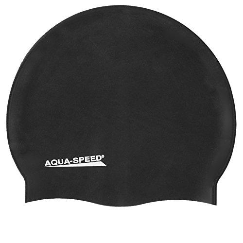 Aqua Speed Super-Stretch Badekappe Damen & Herren | wasserdichte Schwimmkappe Mädchen | Bademütze elastisch | Badehaube Jungen | Sport | Schwimmen | Triathlon | Silikon | schwarz 07 | Mega