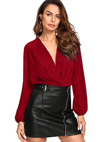 Verdusa Women's Long Sleeve Wrap V-Neck Leotard Blouse Bodysuit Red M