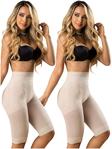 LT.ROSE 21995 Butt Lifter Capri Thigh Slimmer Shapewear Slimwear Tummy Control Shaper for Women Fajas Colombianas Levanta Cola para Mujer Beige 2XL 2Pack