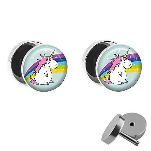 Treuheld® | Set - Dickes Einhorn mit Regenbogen - 2 Ohrstecker zum Schrauben mit Unicorn und Rainbow - Bunte Fake-Plugs mit kleinem Pony - Ø 10mm - Ohrringe Fakeplug - Edel-Stahl Ohrring mit Bild
