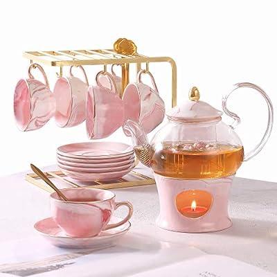 21 Pcs Tea Set of 6 for Girls, Handcraft Pink Porcelain Tea Party Set for Kids/Child, Real Glass Teapot/Tea pot Set with Warmer for Little Girls, Ceramic/China Tea Cup Set/Tea Gift Set with 6 Saucers